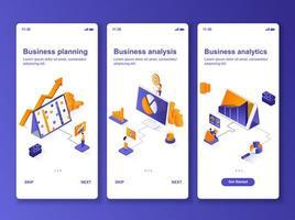 Business Analytics isometrisches GUI-Design-Kit vektor