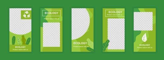 ekologi och miljö redigerbara berättelser mallar för sociala medier vektor