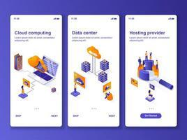 datacenter isometrisk gui design kit vektor