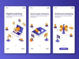 social media marknadsföring isometrisk gui design kit vektor