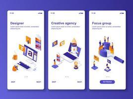 isometrisches Design-Kit der Kreativagentur vektor