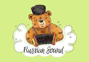 Netter russischer Bär, der Harmonika mit grünem Hintergrund spielt vektor