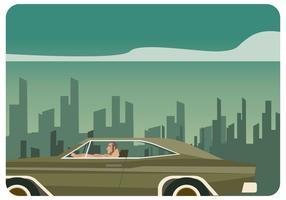 Man Driving Dodge Charger på City Road Vector