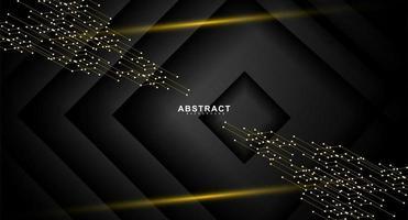 svart skiktad diamantdesign med guldlinjer och prickar vektor