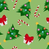 Weihnachtsbaum, Geschenk und Zuckerstangenmuster vektor