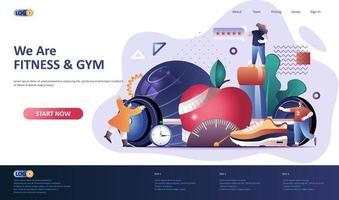 Fitness Flat Landing Page Vorlage vektor