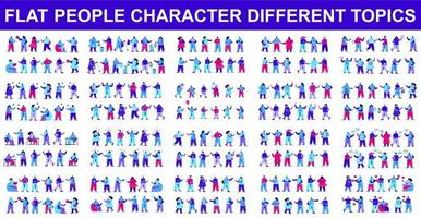 Bündel flacher Charaktere, die verschiedene Dinge tun