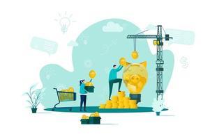 crowdfunding-koncept i platt stil