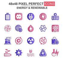 energi och förnybar glyph ikonuppsättning