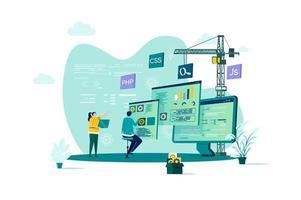 Webentwicklungskonzept im flachen Stil
