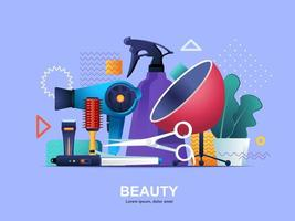 Flaches Konzept der Schönheitsindustrie mit Farbverläufen vektor
