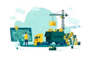 logistikkoncept i platt stil