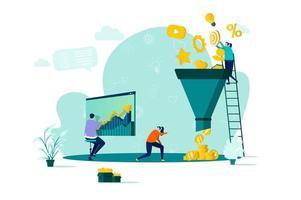 marknadsföringstratt koncept i platt stil