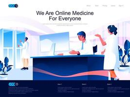 vi är onlinemedicin för alla målsidor vektor