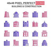 byggnad och konstruktion glyph ikonuppsättning