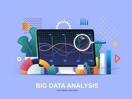 stor dataanalys platt koncept med lutningar vektor