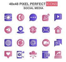sociala medier glyph ikonuppsättning vektor