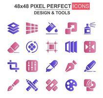 design och verktyg glyph ikonuppsättning