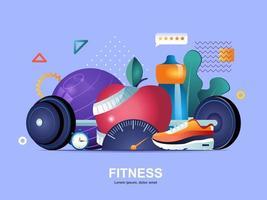Fitness-Flat-Konzept mit Farbverläufen vektor
