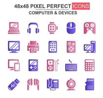 dator och enheter glyph ikonuppsättning