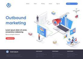 Isometrische Zielseite für Outbound-Marketing