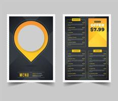 karta pin form restaurang meny flygblad mall vektor