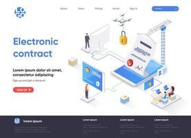 elektroniskt kontrakt isometrisk målsidesdesign