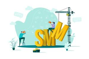 smm-koncept i platt stil vektor
