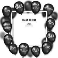glänzende Luftballons des schwarzen Freitags um weißen Rahmen vektor
