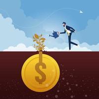 Geschäftsmann mit Gießkanne gießt Geldpflanze vektor
