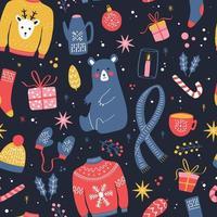 nahtloses Muster mit Neujahrs- und Weihnachtselementen vektor