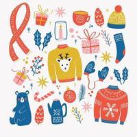 Sammlung von Neujahrs- und Weihnachtselementen