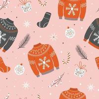 jul sömlösa mönster med fula tröjor vektor