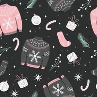 nahtloses Weihnachtsmuster mit hässlichen Pullovern