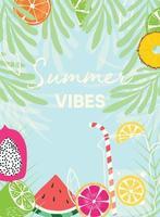 sommarvibbar typografislogan och affisch med färsk frukt vektor