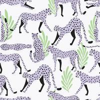 sömlösa mönster exotisk stor katt ljuslila geparder vektor