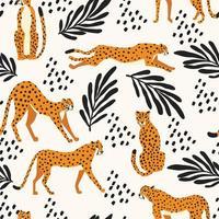 nahtloses Muster mit handgezeichneten Geparden der großen Katze vektor