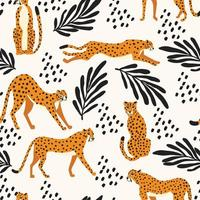 sömlösa mönster med handritade stora katt geparder vektor