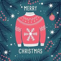 Frohe Weihnachten Pullover Karte mit Rentier und Zweigen.