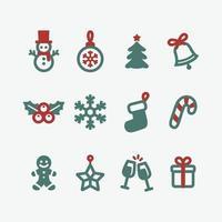 Satz Weihnachtsikone Strichzeichnungen vektor