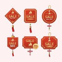 Etikettendesign chinesisches Neujahrseinkauf vektor