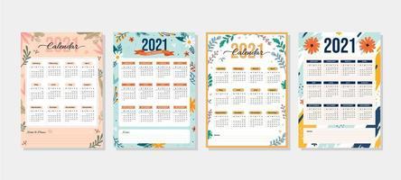 2021 kalender med blommigt tema vektor
