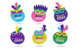 Mardi gras mask etikett klistermärke