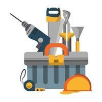 Werkzeugset und Hardware-Cartoon-Symbol vektor