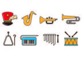 Set von Marching Band Icons vektor