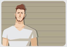En man med vit V-halsskjorta vektor