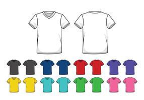 Set av färgade V-halsskjortor mallar vektor