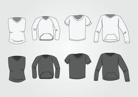 Männer V-Ausschnitt Hemd Vorlage vektor