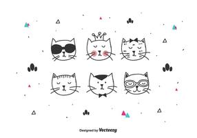 Söt Kattens Vector Set