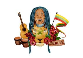 Bob Marley mit Jamaika Flat Lion Bongo Drum und Gitarre vektor